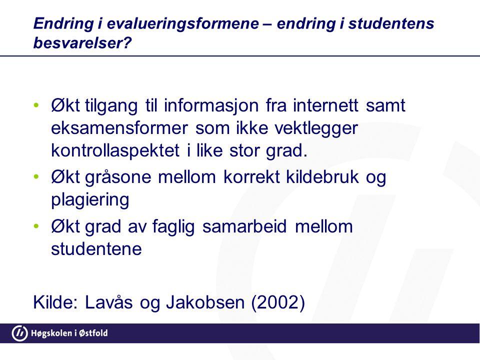Endring i evalueringsformene – endring i studentens besvarelser