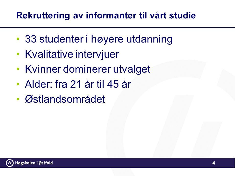 Rekruttering av informanter til vårt studie