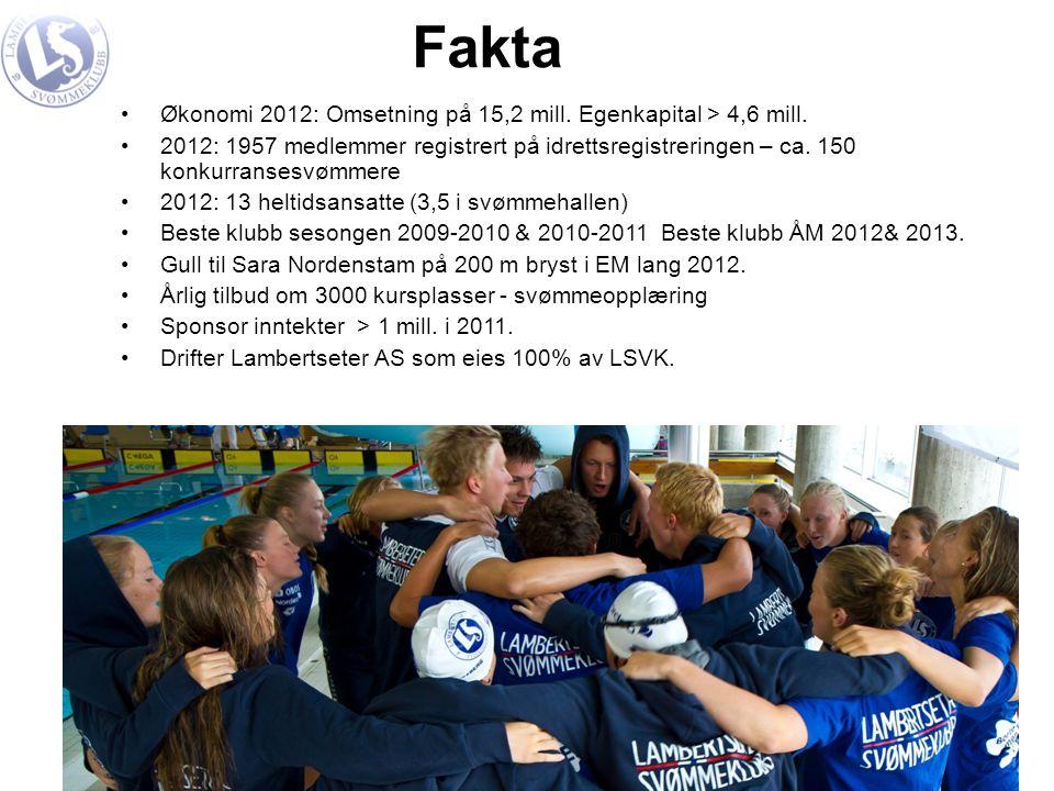 Fakta Økonomi 2012: Omsetning på 15,2 mill. Egenkapital > 4,6 mill.