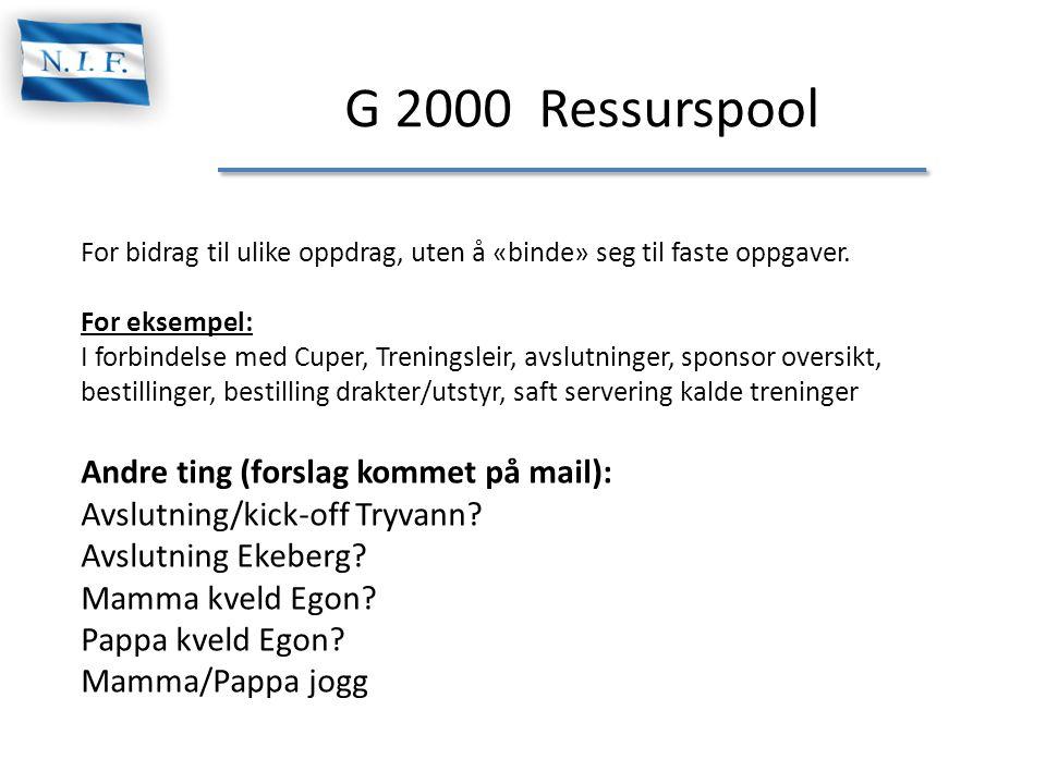 G 2000 Ressurspool Andre ting (forslag kommet på mail):