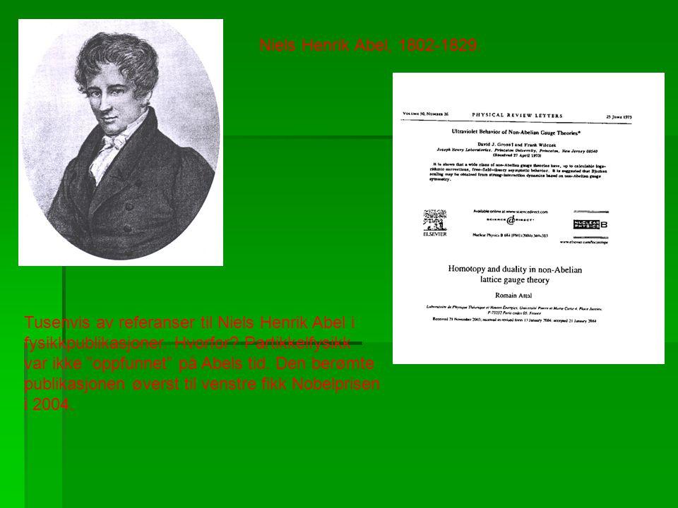 Niels Henrik Abel, 1802-1829. Tusenvis av referanser til Niels Henrik Abel i. fysikkpublikasjoner. Hvorfor Partikkelfysikk.