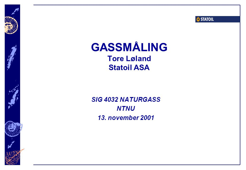 GASSMÅLING Tore Løland Statoil ASA