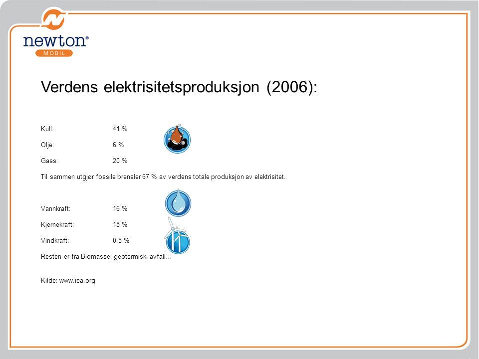 Verdens elektrisitetsproduksjon (2006):