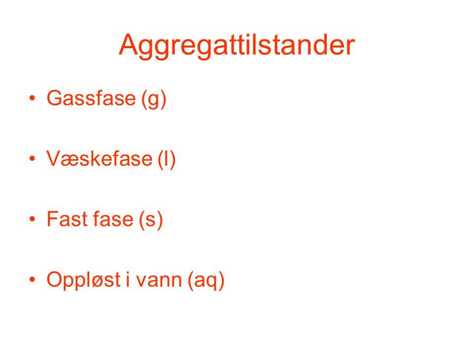Aggregattilstander Gassfase (g) Væskefase (l) Fast fase (s)