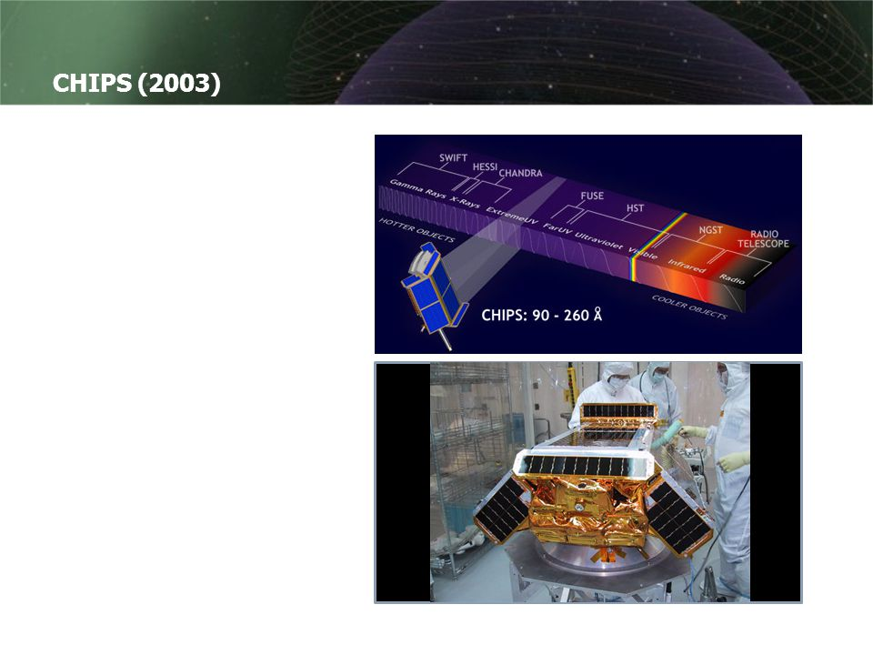 CHIPS (2003) CHIPS står for Cosmic Hot Interstellar Plasma Spectrometer.