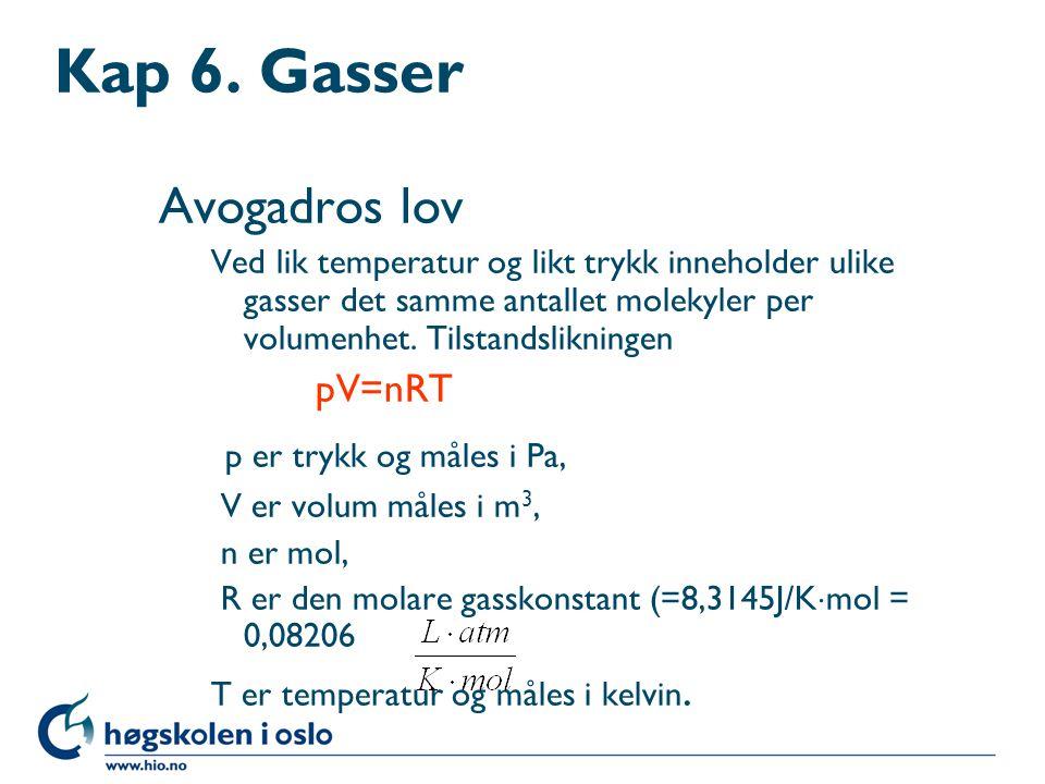 Kap 6. Gasser Avogadros lov p er trykk og måles i Pa, pV=nRT