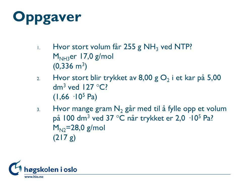 Oppgaver Hvor stort volum får 255 g NH3 ved NTP MNH3er 17,0 g/mol (0,336 m3)