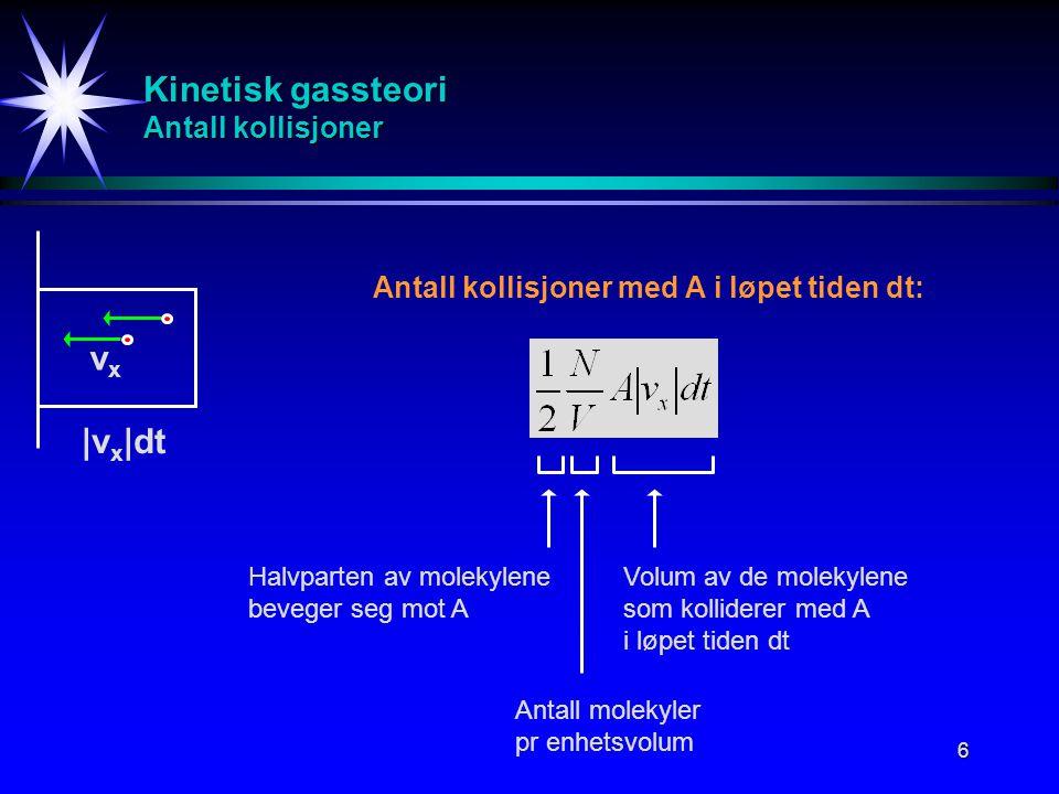 Kinetisk gassteori Antall kollisjoner