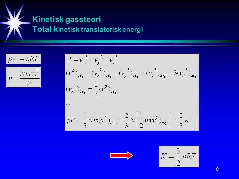 Kinetisk gassteori Total kinetisk translatorisk energi