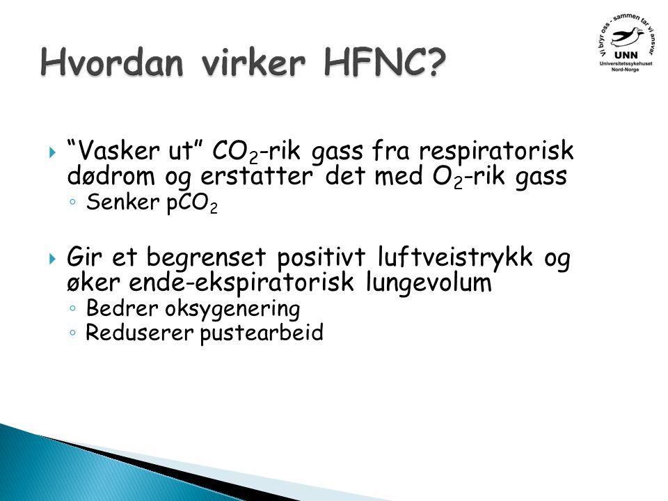 Hvordan virker HFNC Vasker ut CO2-rik gass fra respiratorisk dødrom og erstatter det med O2-rik gass.