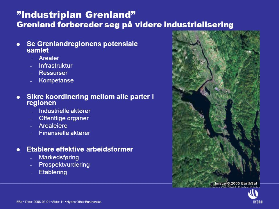 Industriplan Grenland Grenland forbereder seg på videre industrialisering