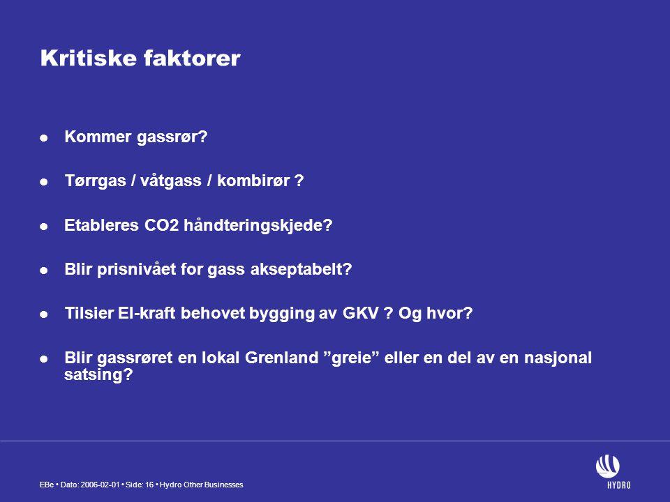 Kritiske faktorer Kommer gassrør Tørrgas / våtgass / kombirør