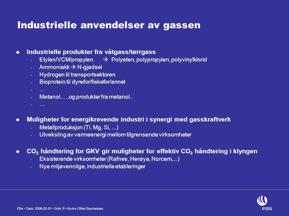 Industrielle anvendelser av gassen