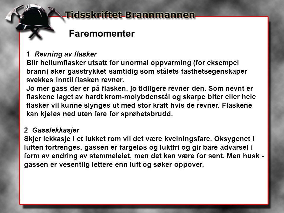 Faremomenter 1 Revning av flasker