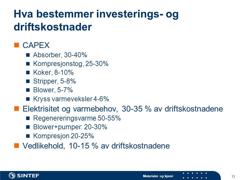 Hva bestemmer investerings- og driftskostnader