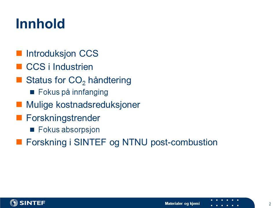 Innhold Introduksjon CCS CCS i Industrien Status for CO2 håndtering