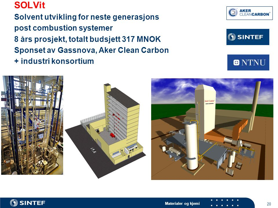 SOLVit Solvent utvikling for neste generasjons post combustion systemer 8 års prosjekt, totalt budsjett 317 MNOK Sponset av Gassnova, Aker Clean Carbon + industri konsortium