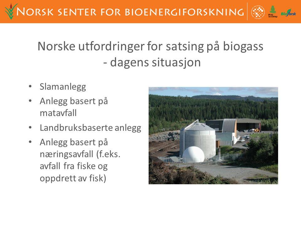 Norske utfordringer for satsing på biogass - dagens situasjon