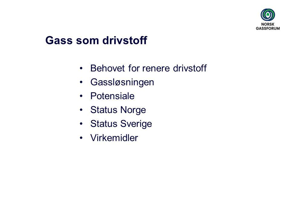 Gass som drivstoff Behovet for renere drivstoff Gassløsningen