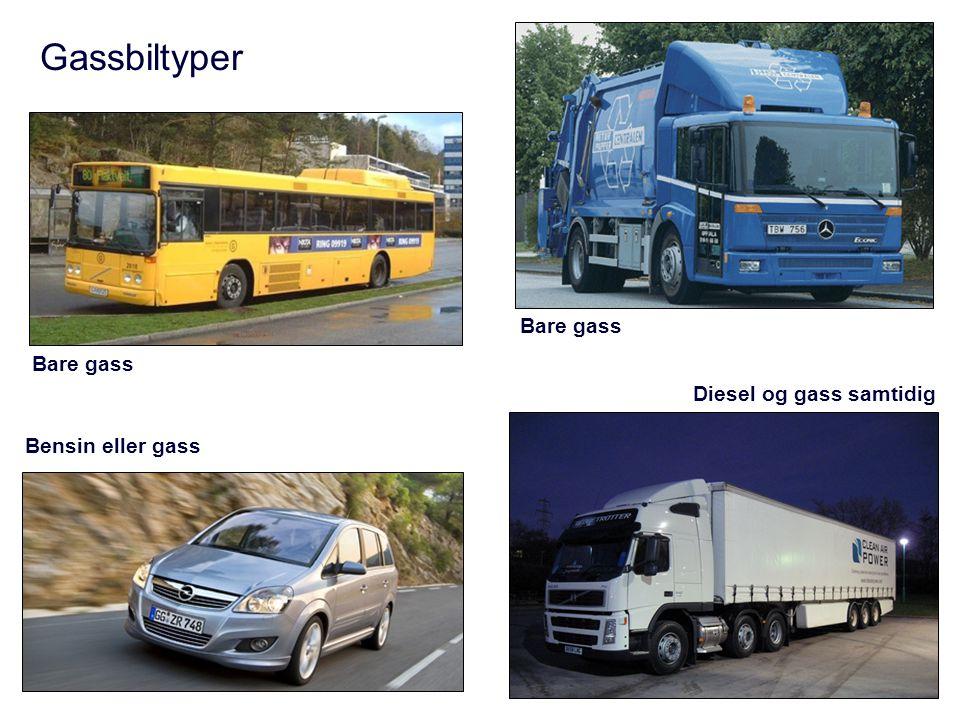 Gassbiltyper Bare gass Bare gass Diesel og gass samtidig