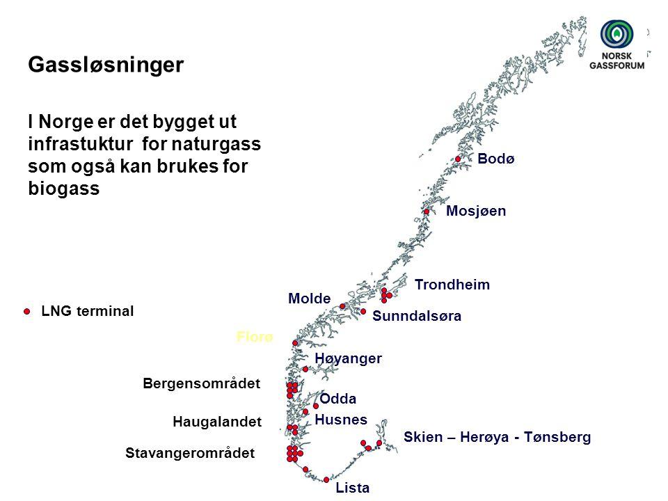 Gassløsninger I Norge er det bygget ut infrastuktur for naturgass