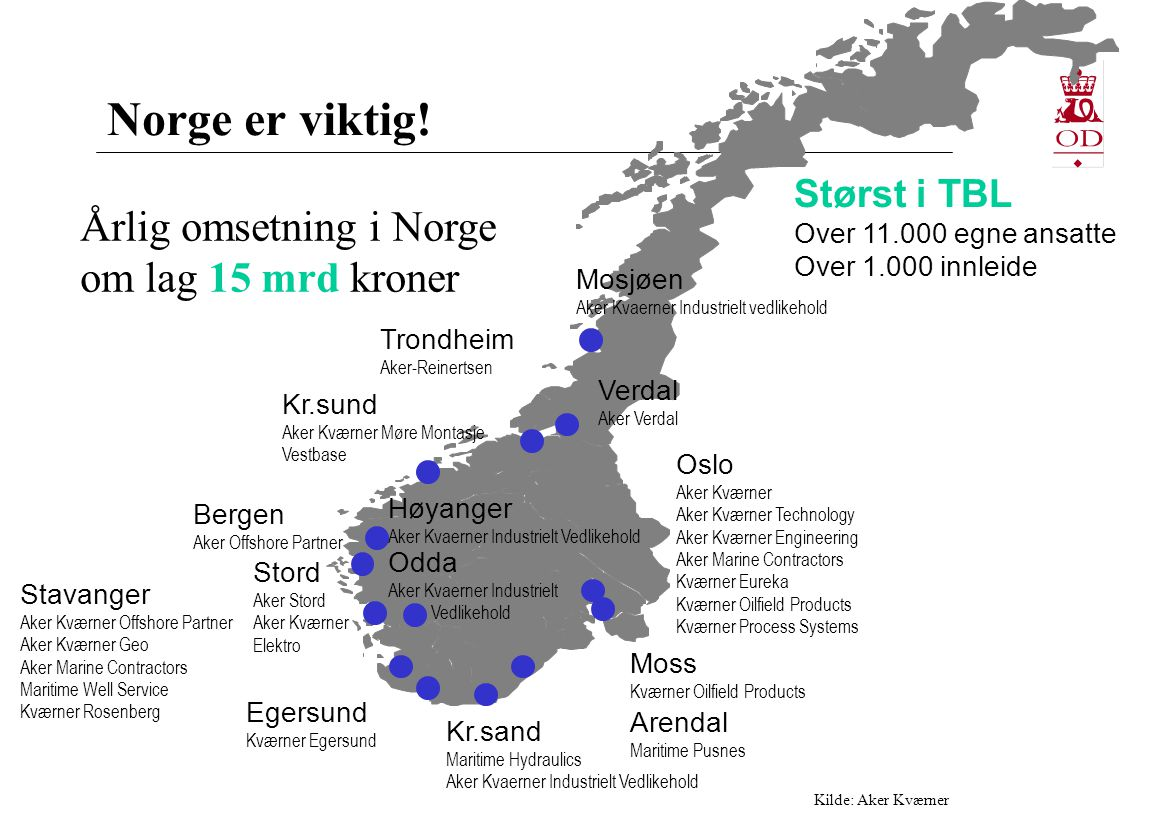 Norge er viktig! Årlig omsetning i Norge om lag 15 mrd kroner