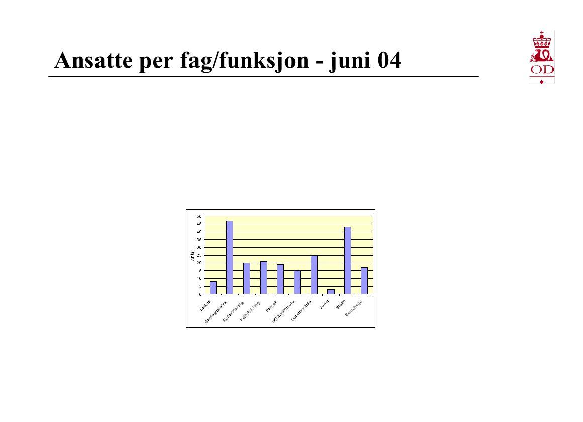 Ansatte per fag/funksjon - juni 04