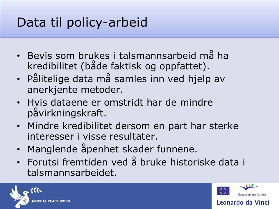 Data til policy-arbeid