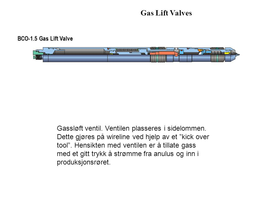 Gas Lift Valves BCO-1.5 Gas Lift Valve.
