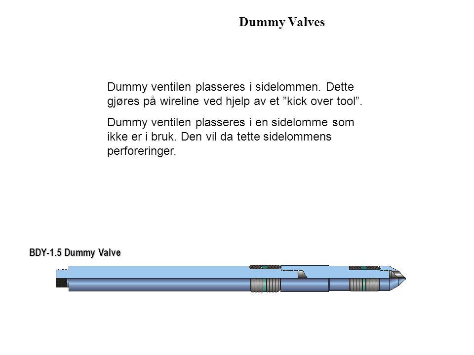 Dummy Valves Dummy ventilen plasseres i sidelommen. Dette gjøres på wireline ved hjelp av et kick over tool .