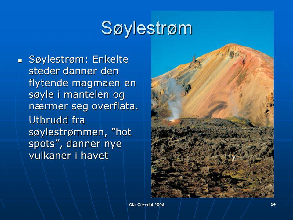 Søylestrøm Søylestrøm: Enkelte steder danner den flytende magmaen en søyle i mantelen og nærmer seg overflata.