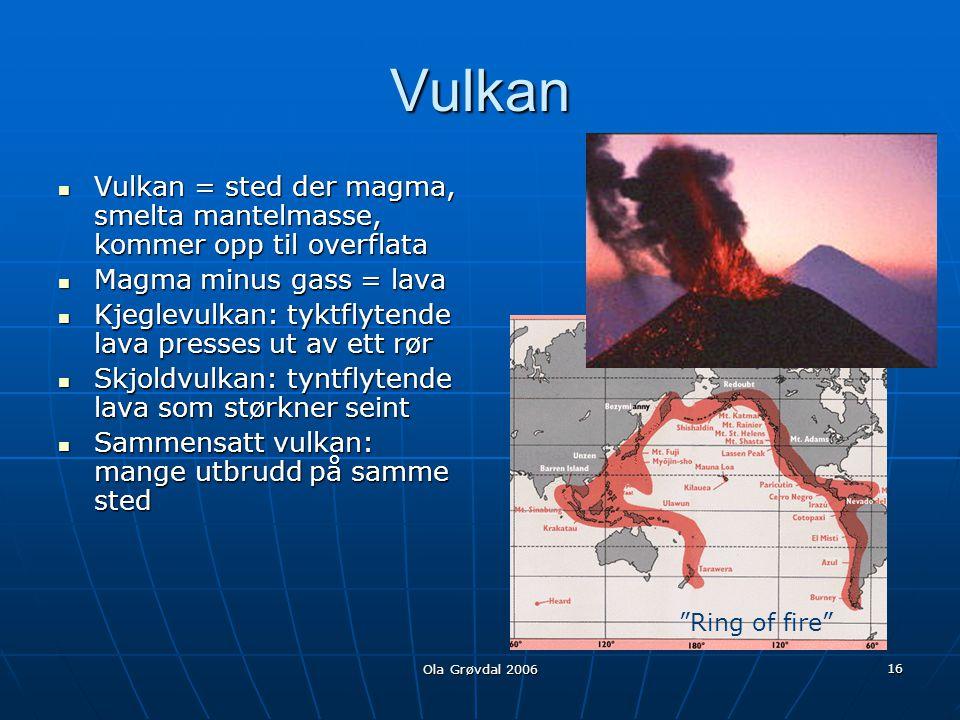 Vulkan Vulkan = sted der magma, smelta mantelmasse, kommer opp til overflata. Magma minus gass = lava.