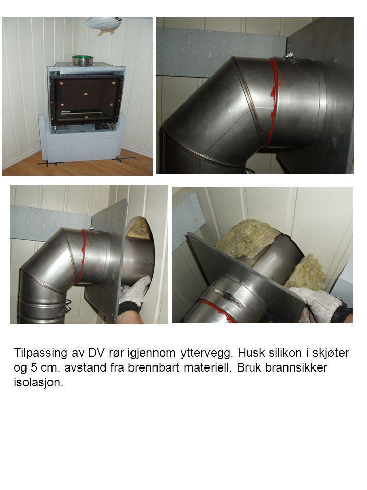 Tilpassing av DV rør igjennom yttervegg. Husk silikon i skjøter