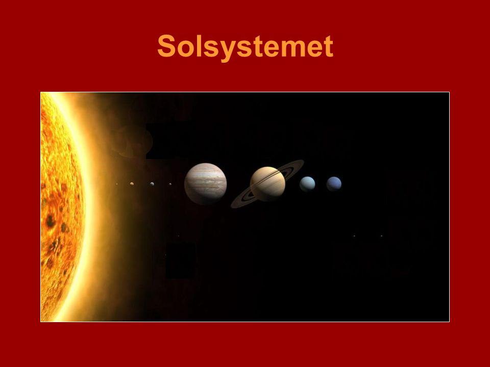 Solsystemet Solen og planetene. Modellen tar ikke hensyn til avstanden mellom sol og planeter.
