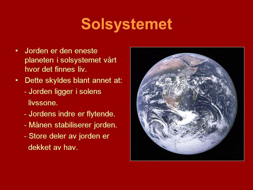 Solsystemet Jorden er den eneste planeten i solsystemet vårt hvor det finnes liv. Dette skyldes blant annet at: