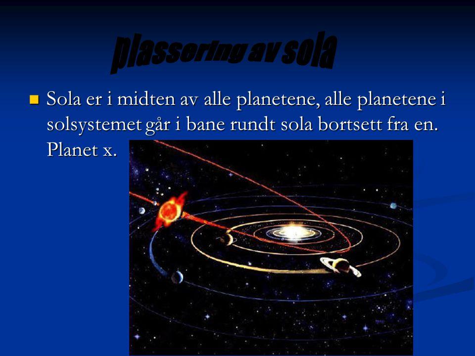 plassering av sola Sola er i midten av alle planetene, alle planetene i solsystemet går i bane rundt sola bortsett fra en.