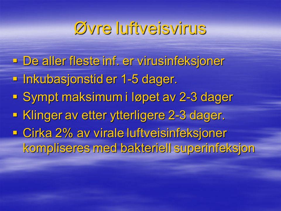 Øvre luftveisvirus De aller fleste inf. er virusinfeksjoner