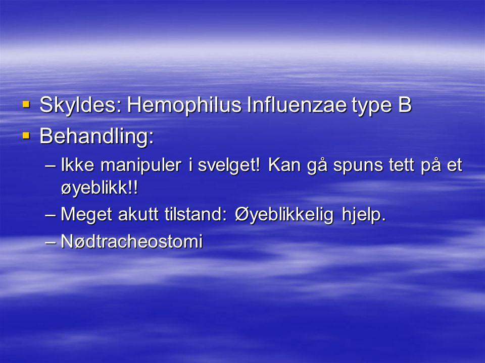 Skyldes: Hemophilus Influenzae type B Behandling:
