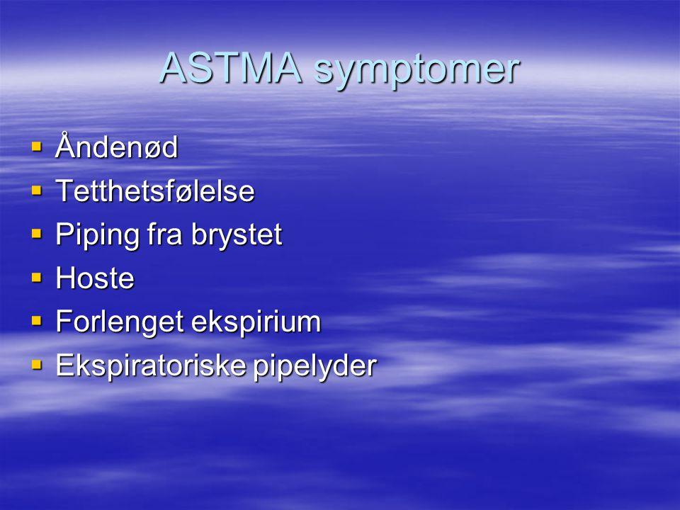 ASTMA symptomer Åndenød Tetthetsfølelse Piping fra brystet Hoste