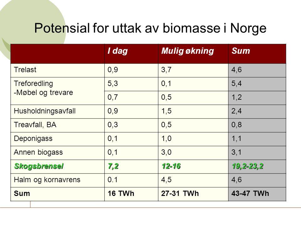 Potensial for uttak av biomasse i Norge