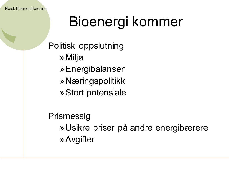 Bioenergi kommer Politisk oppslutning Miljø Energibalansen