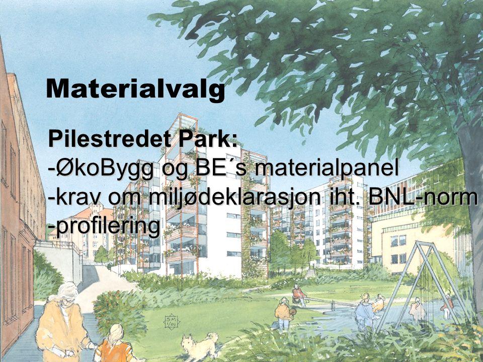 Materialvalg Pilestredet Park: ØkoBygg og BE´s materialpanel