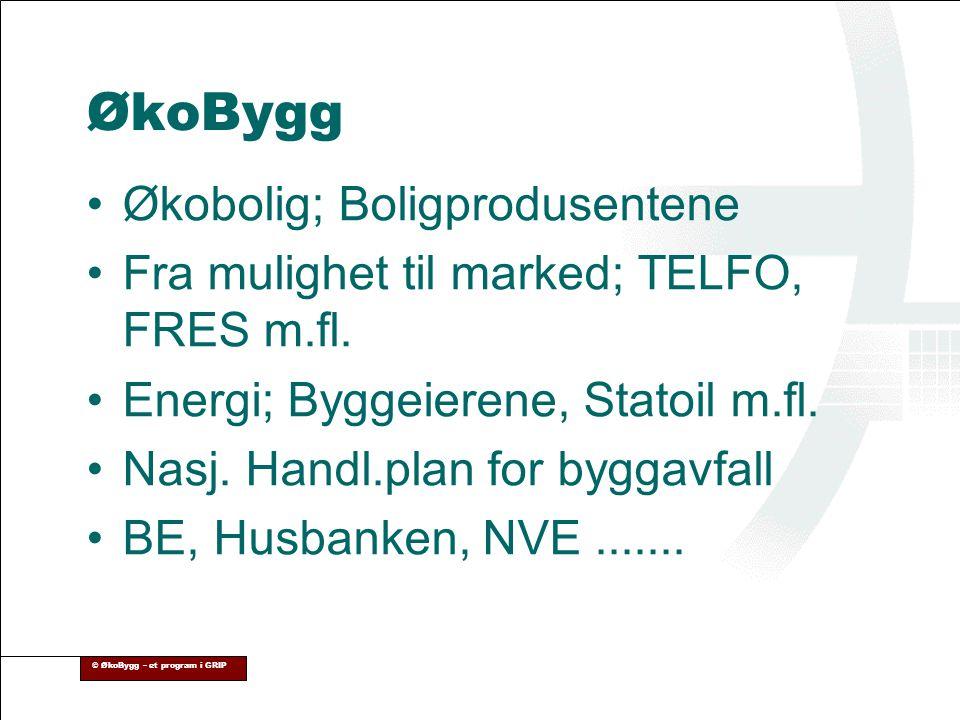 ØkoBygg Økobolig; Boligprodusentene