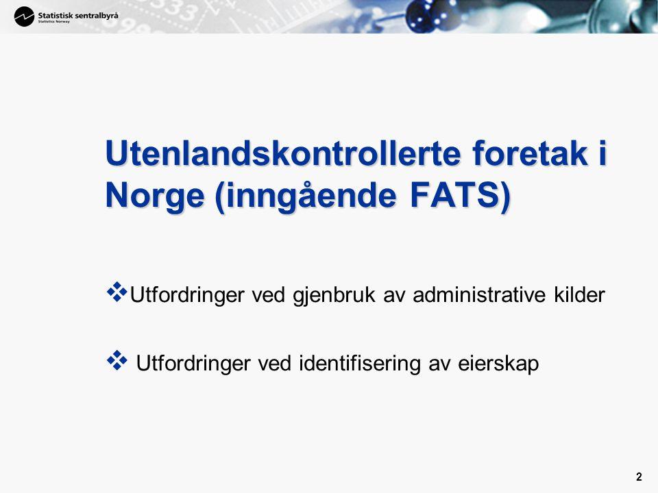 Utenlandskontrollerte foretak i Norge (inngående FATS)