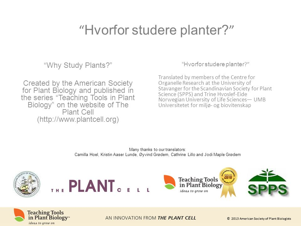 Hvorfor studere planter