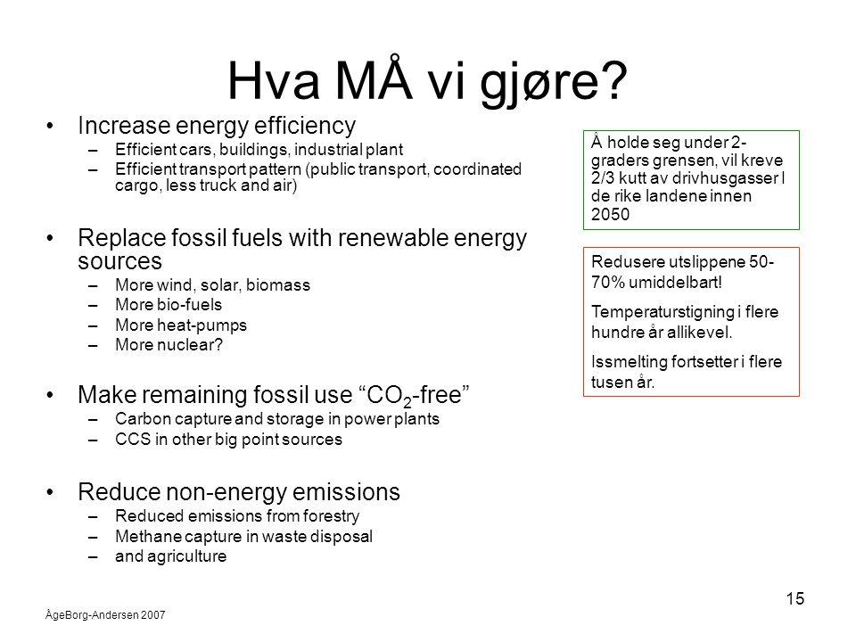 Hva MÅ vi gjøre Increase energy efficiency