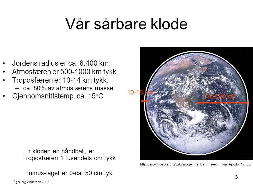 Vår sårbare klode Jordens radius er ca. 6.400 km.