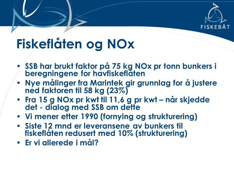 Fiskeflåten og NOx SSB har brukt faktor på 75 kg NOx pr tonn bunkers i beregningene for havfiskeflåten.