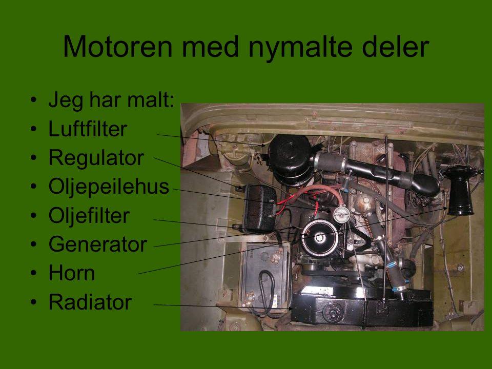 Motoren med nymalte deler