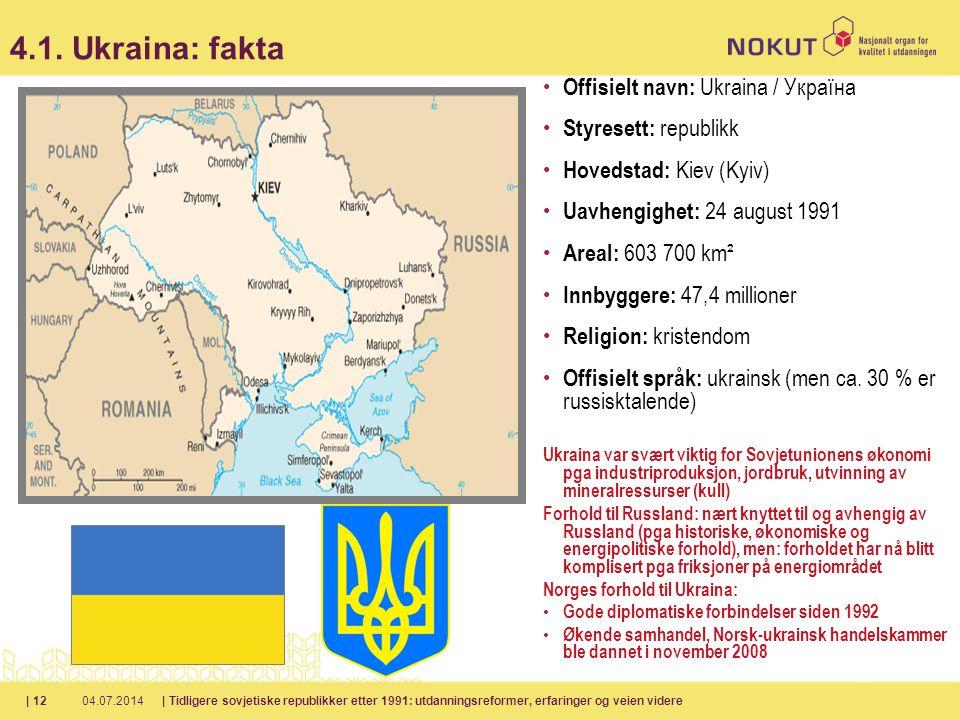4.1. Ukraina: fakta Offisielt navn: Ukraina / Україна